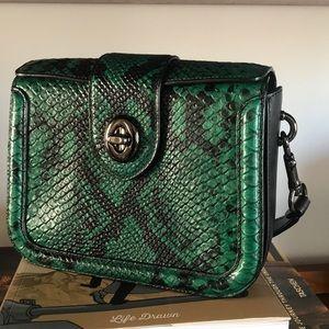 Coach box bag in green snake embossed design